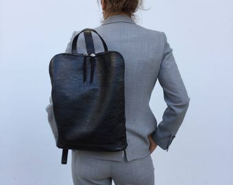 Minimal Leather Backpack/ Black leather Backpack/ Black Briefcase