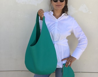 Hobo leather bag/ Green Emerald  Shoulder leather bag / Green Oversized Hobo bag/ Hobo bag By Lara Klass