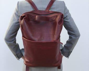 Leather Backpack Unisex backpack Bordeaux   Leather Minimal Backpack