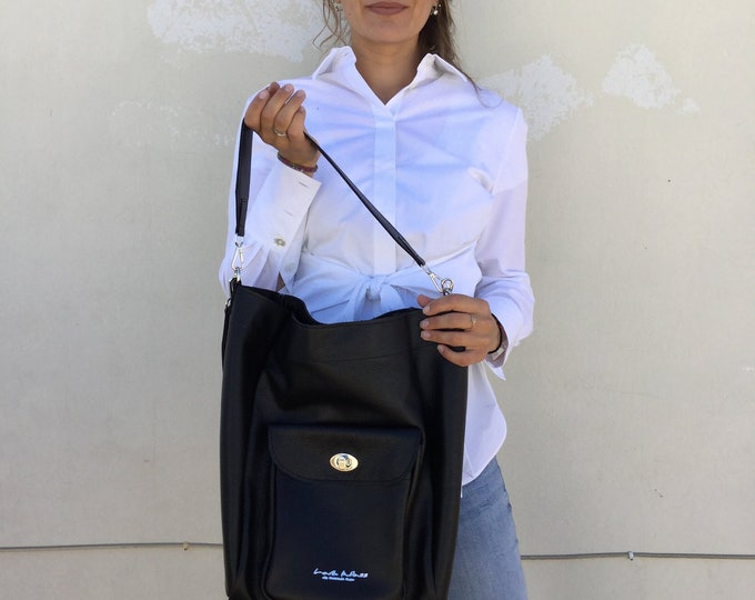 Black  Leather tote/ Leather bag/ Black Oversized leather tote