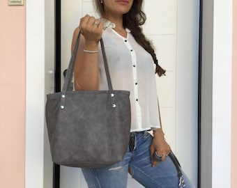 Gray leather bag/Distressed tote bag/Medium bag/Shoulder bag