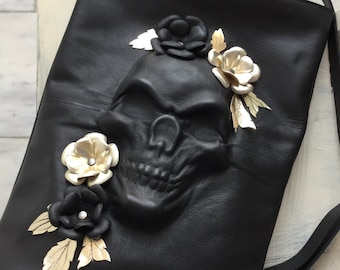 Skull backpack/ Black Leather backpack/ Skull leather Rucksack