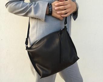 Leather medium Bag, Black Small leather tote, Crossbody bag , Shoulder bag By Lara Klass