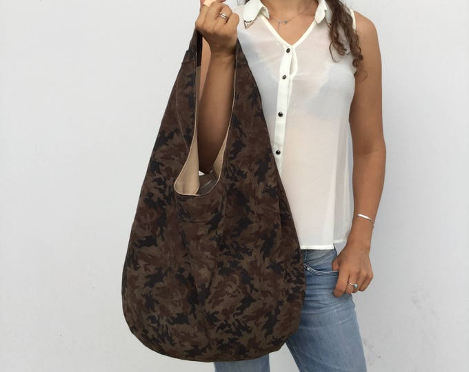 Leather bag/ Medium Camouflage bag/ Chaki leather bag/ Hobo leather bag