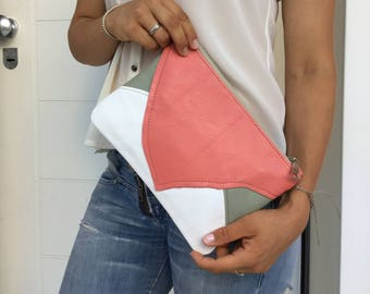 Leather Patchwork clutch/ peach pink white clutch/ Zipper leather clutch