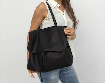 Leather bag/ Black leather bag/ Crossbody flop cover bag/ Leather shoulder bag