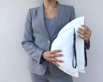 Leather clutch/Minimal clutch/ Medium White clutch