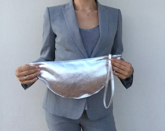 Leather Clutch/ Silver Leather Clutch/ Minimal leather clutch