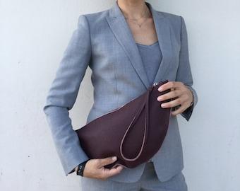 Leather Clutch/ Woman's Bordeaux clutch/ Minimal leather clutch