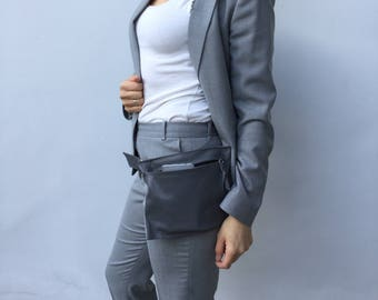 Leather Waist bag/ Gray leather zipper waist bag