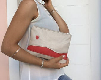 Leather Patchwork clutch/ Red beige stripped leather clutch/zipper leather clutch
