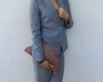 Leather Clutch/ Chocolate clutch/ Minimal clutch