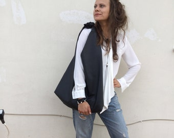 Black leather hobo bag/ Bow hobo bag/ Angle Hobo/ Black Oversized Leather hobo bag