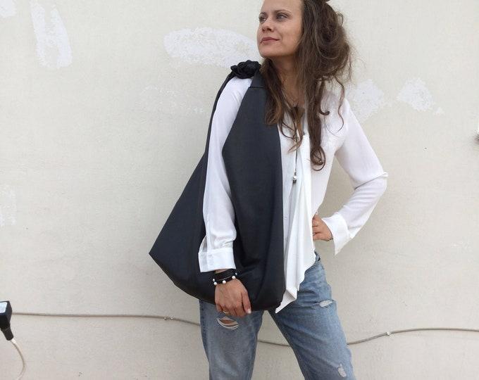 Black leather hobo bag/ Bow hobo bag/ Angle Hobo/ Black Oversized Leather hobo bag
