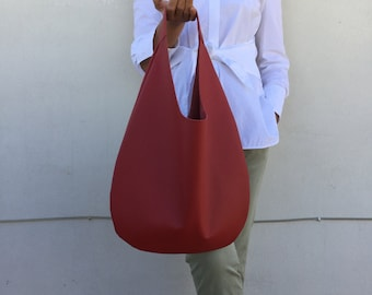 Leather hobo bag/ Red hobo bag/ hobo bag/ Medium hobo bag