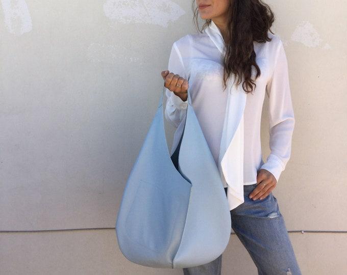 Hobo leather bag/Light Blue Shoulder leather bag / Royal Blue Oversized Hobo bag/ Hobo bag By Lara Klass