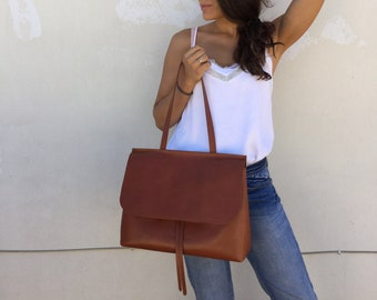 Leather bag/ Brown distressed bag/Flop leather bag/ Cross-body leather bag