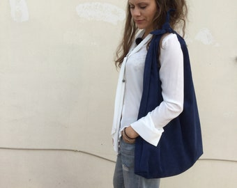 Royal Blue Suede bag Oversized Hobo bag Minimal leather hobo Angle Hobo Bag