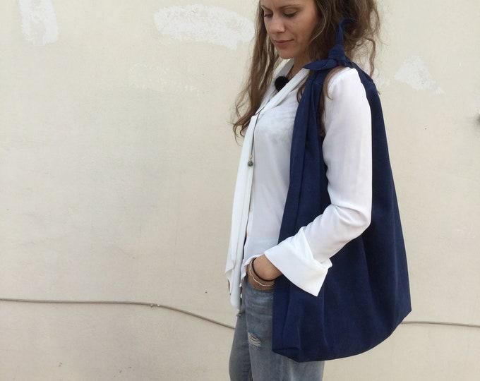 Royal Blue Suede bag Oversized Hobo bag Minimal leather hobo Angle Hobo Bag