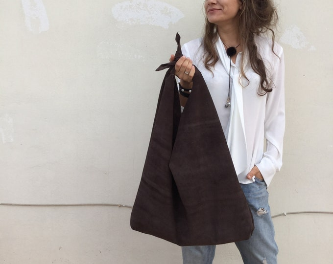 Featured listing image: Leather hobo bag Oversized brown suede bag Bow bag Minimal bag