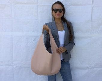 Leather hobo bag/ Nude leather bag/ Powder hobo bag/ Medium  hobo bag