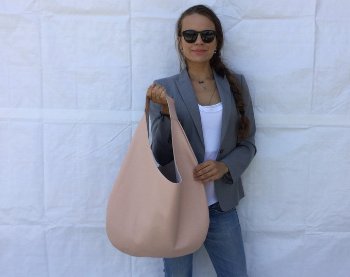Leather hobo bag/ Nude leather bag/ Powder hobo bag/ Medium  hobo bag