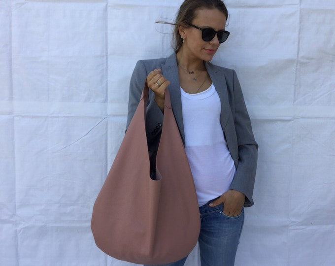 Leather hobo bag/ Nude leather bag/ Powder hobo bag/  Minimal bag/ Medium hobo bag