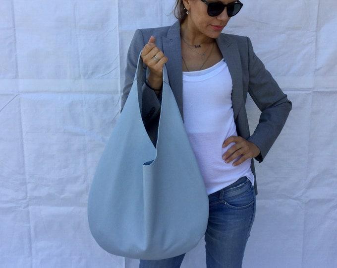 Leather hobo bag/ Blue leather bag/ Minimal  leather bag/ Oversized  hobo bag