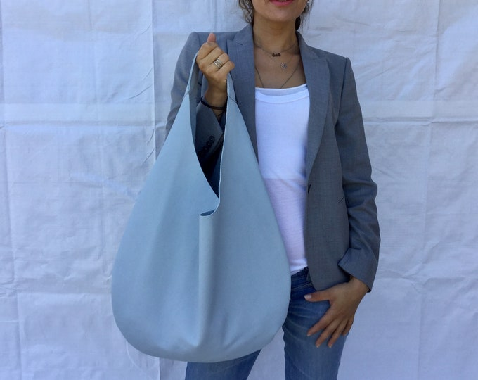 Leather hobo bag/ Blue leather bag/ Shoulder leather bag/ Medium hobo bag