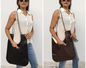 Leather tote bag/ Black tote/ Bronze bag/ Chain handles/ leather shoulder bag
