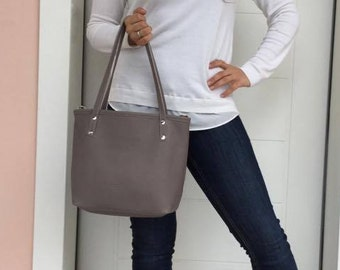 Medium Tote Leather Bag/Leather Tote Bag/ Grey leather tote/ Zipper leather tote/ Everyday leather bag
