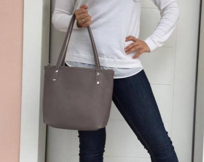 Medium Tote Leather Bag/Leather Tote Bag/ Grey leather tote/ Zipper leather tote/ Everyday leather bag
