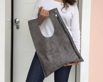 Leather bag/ Gray Distressed bag/ Asymmetric bag / Zipper leather bag/ Leather bag/ Shoulder leather bag