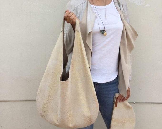 Hobo leather bag/  Shiny Gold Snake Print Ecru leather hobo/ Medium hobo bag