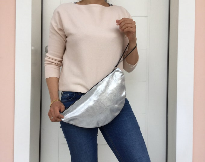 Minimal Large Silver leather clutch Large Silver woman clutch