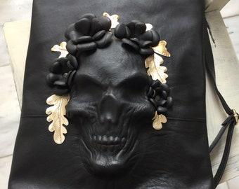 Skull  Backpack/ Black leather Backpack/ Skull Rucksack/ Black Skull Bag/ Skull Backpack