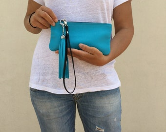Turquoise wallet/ leather clutch/ Leather cosmetics case