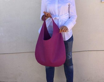 Leather bag/ Medium Leather bag/ Purple leather  bag/ Purple hobo bag/ Shoulder Hobo leather bag