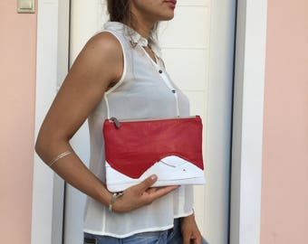 Leather Clutch/ white Red Patchwork leather clutch/ Zipper leather clutch bag