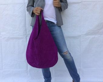Leather bag/ Medium Leather bag/ Suede Pure leather  bag/ Purple hobo bag/ Shoulder Hobo leather bag