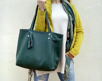 Green leather bag/ Shoulder leather tote/Crossbody  leather bag/ Green leather tote