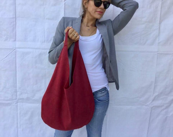 Suede hobo bag/  Cherry suede  bag/ hobo bag/ Medium  hobo bag