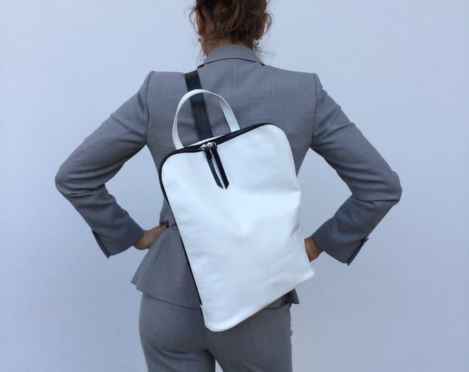 Minimal Leather Backpack/ White  leather Backpack/ White Briefcase