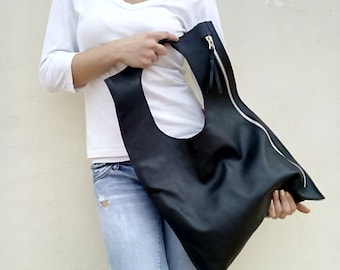 Black Leather bag, Tote handbag, Designer Leather Bag, Zipper bag , Women's leather handbag, Fashion leather bag ,
