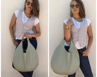 Hobo leather bag/Green leather bag/Nappa leather bag/Everyday bag/Light sage green/By Lara Klass bag