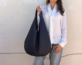 Leather hobo bag/ Dark blue leather  bag/ Blue hobo bag/ Oversized hobo bag/ Minimal hobo bag