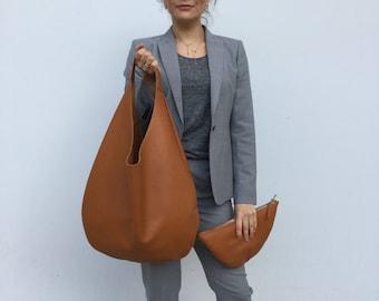 Hobo leather bag/ Camel leather hobo/ Oversized hobo bag