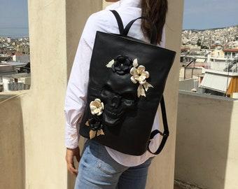 Skull backpack/ Black Leather backpack/ Skull leather Rucksack