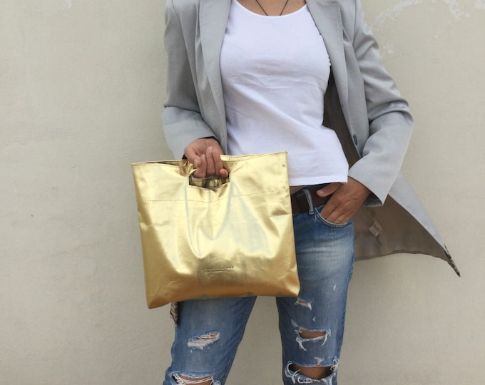 Minimal leather clutch Gold leather clutch Large clutch