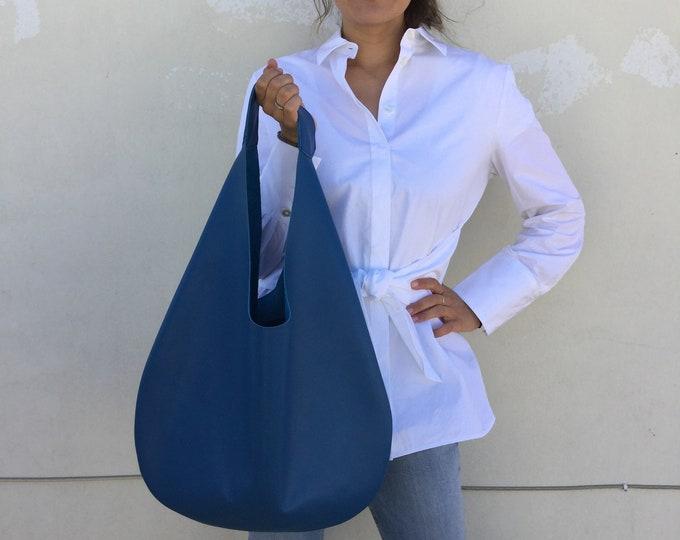 Hobo leather bag/ Blue Shoulder leather bag / Royal Blue Oversized Hobo bag/ Hobo bag By Lara Klass